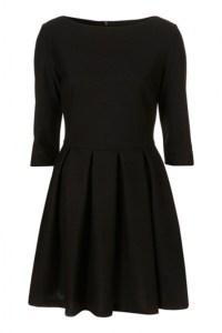 Black Plain Pleated Hem Fitted 3/4 Sleeve Round Neck Dress ...
