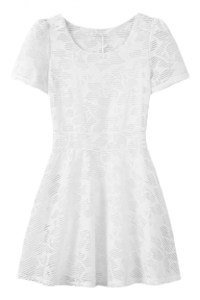 Plain Short Sleeve Net Fitted Fit&Flare Dress ...