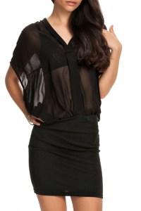 Black Plain V-Neck Sheer Chiffon Fitted Dress ...
