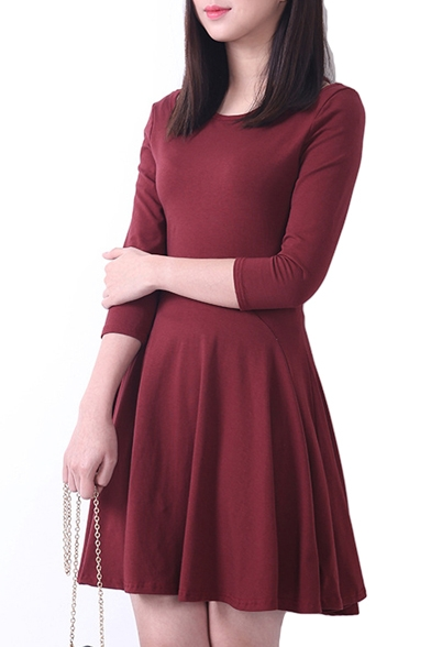 Plain Ruffle Hem Open Shoulder 34 Sleeve Fitted Dress