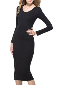 Plain Round Neck Long Sleeve Fitted Dress - Beautifulhalo.com