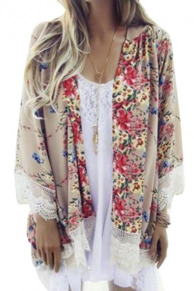 Women Flowy Sheer Crop Sleeves Loose Chiffon Kimono