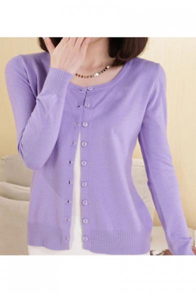 Women Button Down Long Sleeve Basic Soft Knit Cardigan