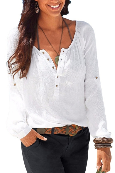 Womens Casual V Neck Blouses Linen Long Sleeve ButtonUp