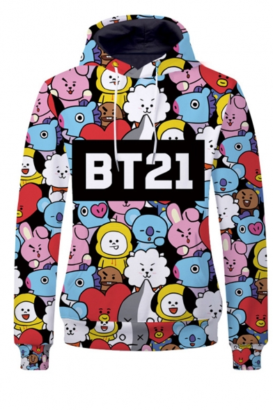 BT21 Letter Cartoon All-Over Printed Long Sleeve Drawstring Pullover Hoodie - Beautifulhalo.com