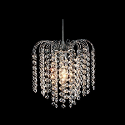 Chrome Modern 1 Light Mini Chandelier With Waterfall Crystal Strands