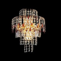 Sparkling Luxury Gold and Red Crystal Wall Sconce Has ...