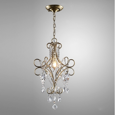 Graceful Iron Curving Arms Antique Bronze Finished Rustic Mini Pendant Hanging Sparkling Clear Crystals