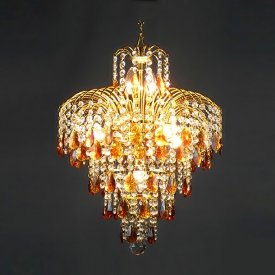 Fountain Amber Crystal Teardrops And Clear Beads Waterfall Chandelier