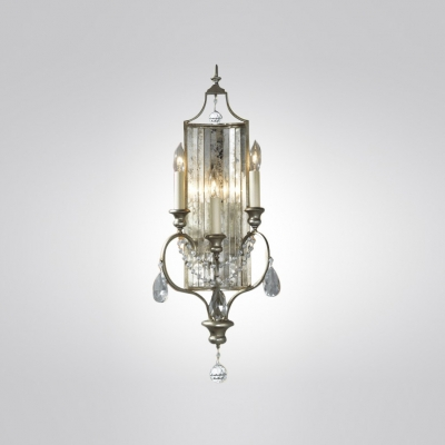Polished Nickel Finish Gives Three Light Crystal Wall Sconce Dazzling Shine