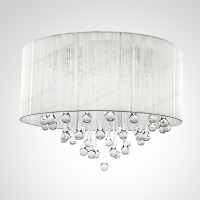 Silver Drum Shade and Rich Crystal Rainfall Flush Mount
