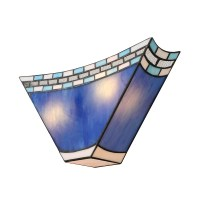 Geometric Blue Stained Glass 8 Inch High Tiffany Two-light ...