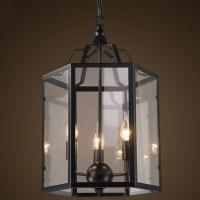 Lantern Style 3 Light LED Chandelier in Black Finish ...