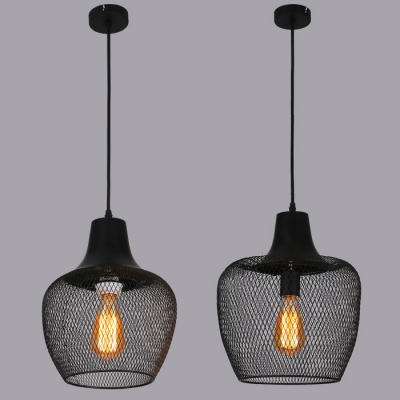 Matte Black 1 Head Foyer Led Pendant Lighting With Mesh Shade