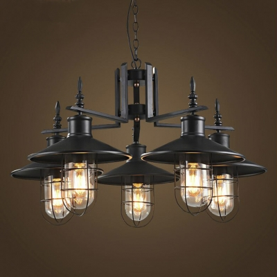 Nautical Style 5 Light 1 Tier Chandelier With Metal Shade