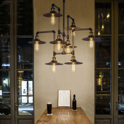 industrial style 8 light large led pendant chandelier commercial coffee bar lighting fixture