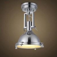 Chrome 1 Light LED Semi Flush Ceiling Light with Glass ...