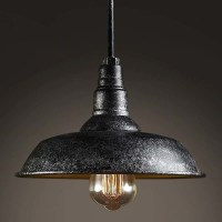 Mottled Black Single Light Barn Style Industrial Indoor ...