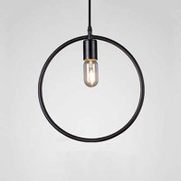 Black Geometric Circle LED Pendant Light Fixtures ...