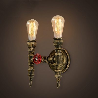 11'' H Double Light Torch LED Wall Sconce in Antique Brass
