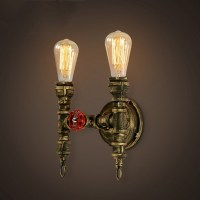 11'' H Double Light Torch LED Wall Sconce in Antique Brass ...