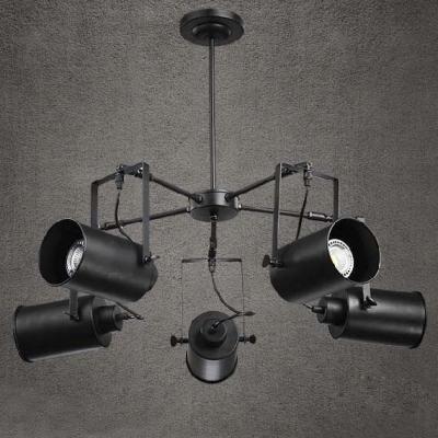 Black Finish Five Light Spotlight Chandelier 35 Wide