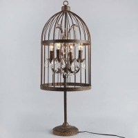 Rust Iron 4 Light Bird Cage LED Table Lamp with Crystals ...