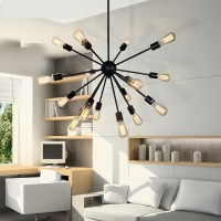 Contemporary Chandelier with Edison Bulbs in Wrought Iron ...