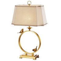 Golden Circle Birds Accent Table Lamp with Beige Shade ...