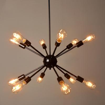 Edison Bulb Chandelier In Vintage Loft Style Black Finish 12 Lights