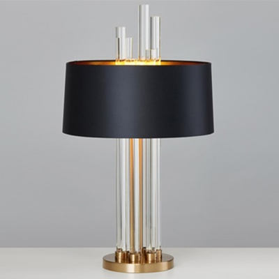 Modern Glass Rod Table Lamp with Black Drum Shade Gold