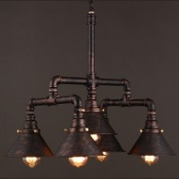 Industrial Water Pipe Chandelier in Rust Iron with Cone ...
