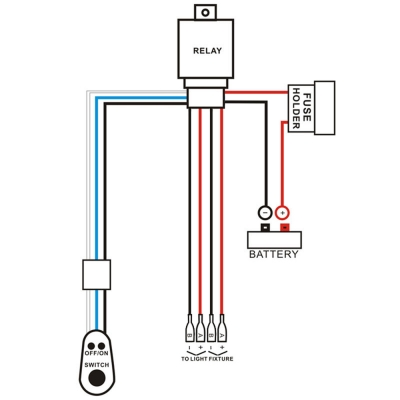 led light bar wiring diagram with relay network online harness kit 400w 12v 40a fuse on off waterproof switch