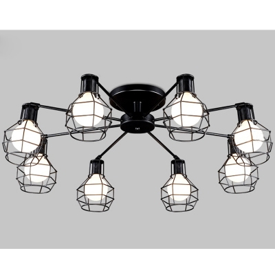 Industrial Semi Flush Ceiling Light LOFT 8 Light in Black