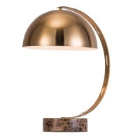 Modern Marble Base Table Lamp with Vintage Brass Bowl ...