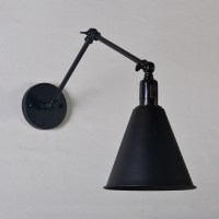 """Industrial Swing Arm Wall Sconce, 11"""" Conical Shade, Black"""