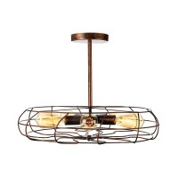 Industrial Fan LED Close to Ceiling Light in Wrought Iron ...