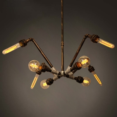 Pipe Chandelier With 8 Light In Black Aged Brass Silver