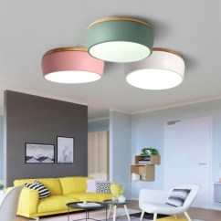 Led Ceiling Light Living Room Furniture Free Delivery Macaron Modern Drum Flush Wooden Fixture In Warm White