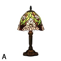 Stained Glass Flower Patterned Mini Table Lamp with Bronze ...