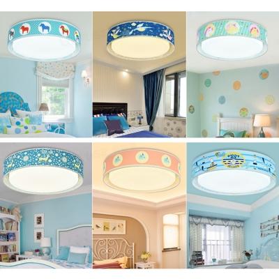 cartoon animal pattern flushmount boys girls room acrylic led ceiling light in warm white