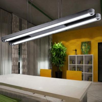 modern office lighting design 48 black finish long double led linear chandelier 2700k 7000k 36w 3060lm 3420lm led pendant lights for business