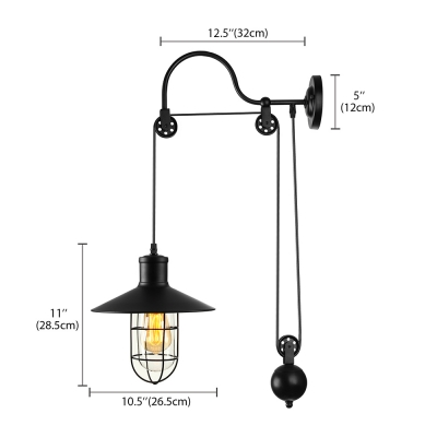 Industrial Style Adjustable 1 Light Wall Sconce in Black