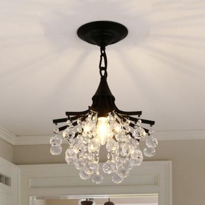foyer chandelier clear crystal 1 light modern height adjustable light fixtures in black gold