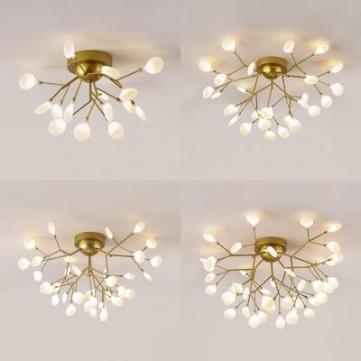 elegant gold led ceiling light twig 15 27 36 45 lights metal semi flush mount light for cafe hotel