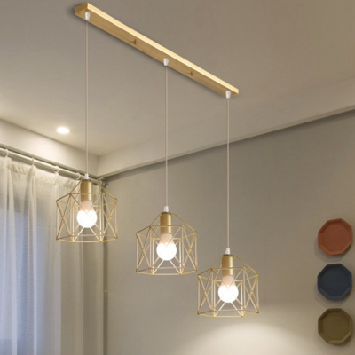 industrial hexagon square star pendant light metal 3 lights gold island lamp for cafe bar