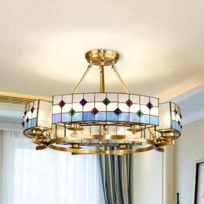 8 lights round chandelier mediterranean style glass pendant lamp in blue for hotel