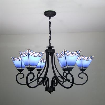 dining room craftsman pendant lamp stained glass 6 lights mediterranean style dark blue sky blue chandelier
