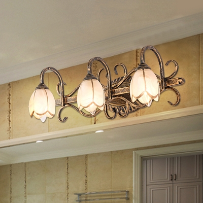 lotus shade bathroom vanity light metal 2 3 lights vintage style rust proof wall light in bronze