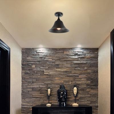black bell ceiling lights farmhouse style steel 1 head semi flush mount light for dining table